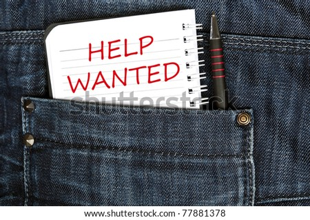 Help wanted message on notepad - stock photo