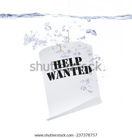 Help Wanted Sign Hanging from a Fish Hook - stock photo