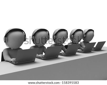 Helpdesk Hotline Operators Showing Call Center And Service - stock photo