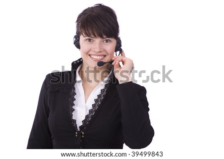 Helpdesk or support operator. Successful  businessman is speaking over the headset with a microphone. - stock photo