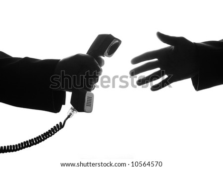 Helpful arm give the receiver for a hand - stock photo