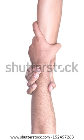 helping hand on white background - stock photo