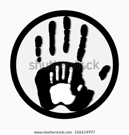 Helping hands. Adult Care about child.greeting. Vector illustration. - stock photo