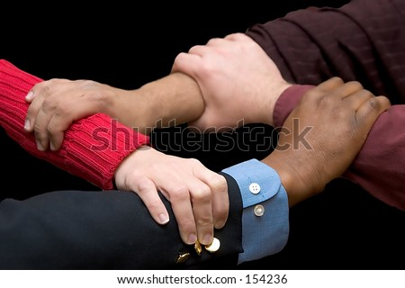 Helping Hands - black background - stock photo
