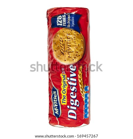 HELSINGBORG, SWEDEN - DECEMBER 29, 2013: A pack of McVities Digestives tea biscuits that commemorates the biscuit's 120 year anniversary. McVitie's is a British snack brand owned by United Biscuits. - stock photo