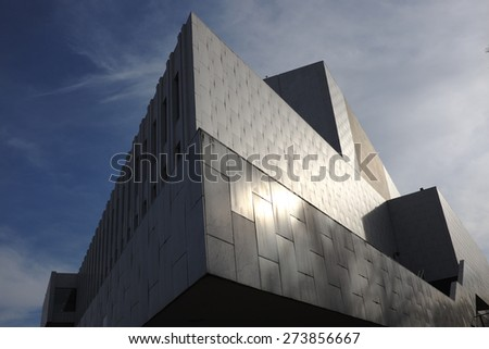 HELSINKI, FINLAND �¢?? APRIL 10, 2015: view of the building of the Finlandia hall architect Alvar Aalto in Helsinki  - stock photo