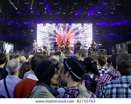 HELSINKI, FINLAND - AUGUST 12: American Band Midlake performs live on stage August 12, 2011 at Flow 2011 Festival in Helsinki, Finland. - stock photo