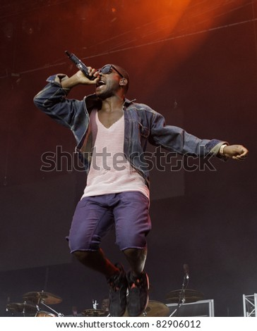 HELSINKI, FINLAND - AUGUST 14: British rapper Tinie Tempah performs on August 14, 2011 at On the Beach 2011 Concert  in Helsinki, Finland - stock photo