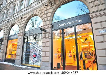 HELSINKI, FINLAND - JANUARY 4: Facade of Louis Vuitton store in Helsinki on January 4, 2016. Louis Vuitton is a world famous fashion brand founded in France. - stock photo