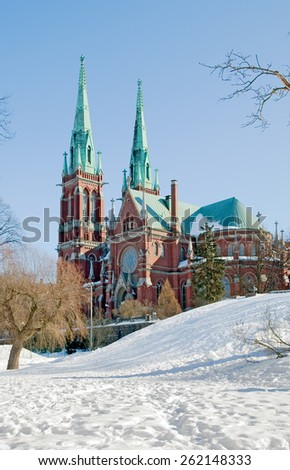 Helsinki. Finland. Johanneksenkirkko. St. John's Church. It is a Lutheran church in the Gothic Revival style. It is the largest stone church in Finland by seating capacity - stock photo