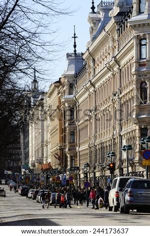 HELSINKI, FINLAND - MARCH 22, 2014: Pohjoisesplanadi - street in the center of Helsinki, the capital of�Finland, with shops selling Finnish brands, near Boulevard Esplanadi. - stock photo