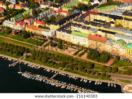 Helsinki from the air - stock photo