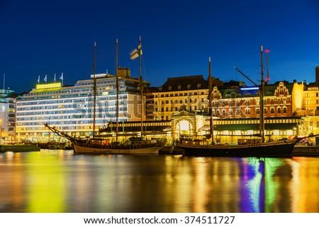 Helsinki harbor at dask, Finland - stock photo