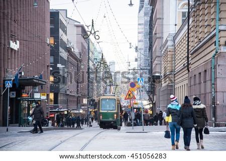 HELSINKI - JANUARY 5, 2016 : Pedestrian crowed at Helsinki, Finland - stock photo
