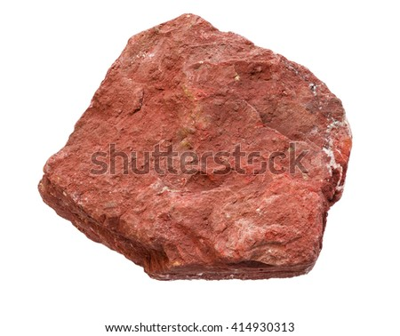hematite or iron ore mineral rock hand sample isolated on white background - stock photo