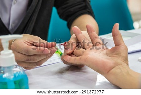 Hematocrit blood test in check up. - stock photo