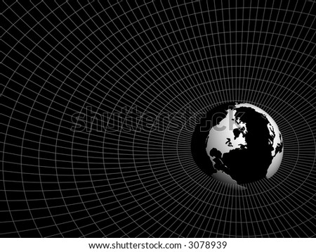 hemisphere of earth in surroundings a network on a black background - stock photo