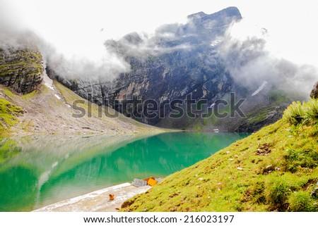 Hemkund lake at hemkund sahib, india - stock photo