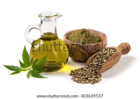 Hemp oil n a glass jar isolated on a white background - stock photo