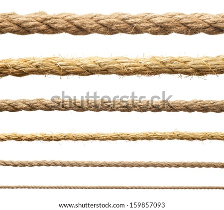 Hemp rope isolate. Ropes collection on white. - stock photo