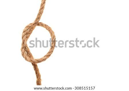 hemp rope isolated on a white background - stock photo