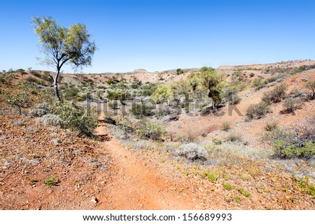 Henbury is one of five meteorite impact sites in Australia  best preserved examples of a small crater field  - stock photo
