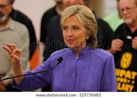 HENDERSON, NV - OCTOBER 14, 2015: Democratic U.S. presidential candidate & former Secretary of State Hillary Clinton speaks at International Union of Painters and Allied Trades (IUPAT) training center - stock photo