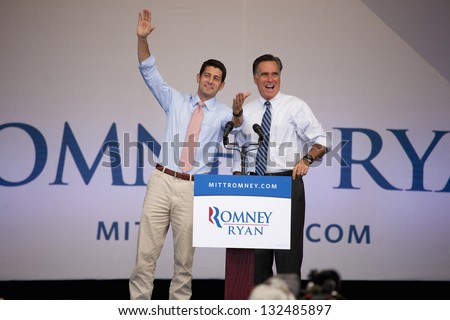 HENDERSON, NV - OCTOBER 23: Governor Mitt Romney and Paul Ryan on stage at Presidential campaign rally at Henderson Pavilion on October 23, 2012 in Henderson, Nevada - stock photo