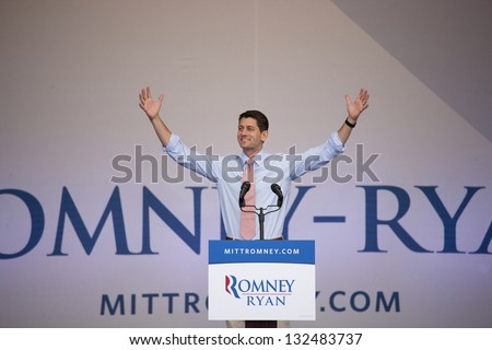 HENDERSON, NV - OCTOBER 23:  Paul Ryan of Wisconsin, Republican Candidate for Vice President, campaigns for Mitt Romney at Henderson Pavilion on October 23, 2012 in Henderson, Nevada. - stock photo