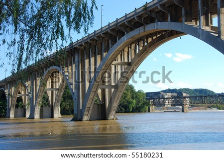Henley Bridge over the Tennessee River Knoxville - stock photo