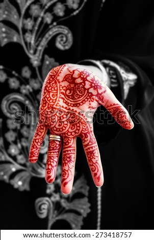 Henna hand tattoo body art tradition black and white and color mix - stock photo