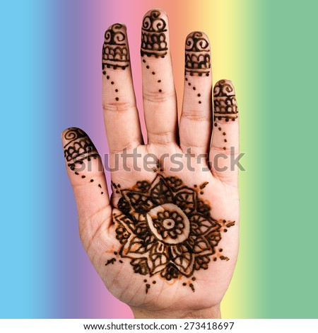 Henna hand tattoo decoration art clipping path square color background - stock photo