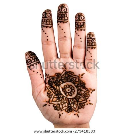 Henna hand tattoo decoration art clipping path square white background - stock photo