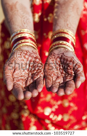 Henna Hands and Bangles - Indian wedding - stock photo