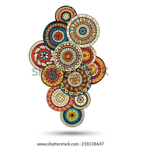 Henna Paisley Mehndi Doodles Abstract Floral  Illustration Design Element. Colored Version. - stock photo