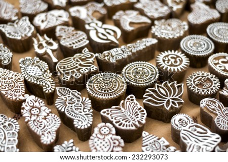 Henna wooden stamps for decorating the body or clothes, India. - stock photo