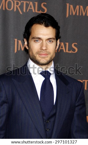 Henry Cavill at the Los Angeles premiere of 'Immortals 3D' held at the Nokia Theatre L.A. Live in Los Angeles on November 7, 2011.   - stock photo
