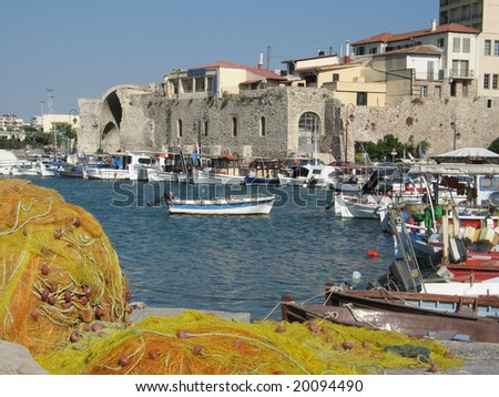 Heraklion port and venetian harbour in island of Crete, Greece - stock photo