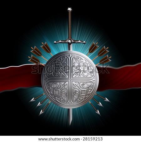 heraldic emblem: sword, shield , arrows - stock photo