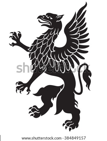 Heraldic griffin black with wings isolated on white background - stock photo