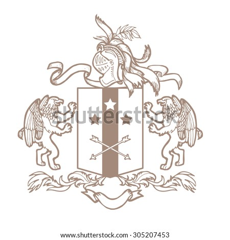 Heraldic royal crests coat of arms. Heraldry template on white background. - stock photo