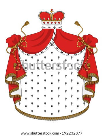 Heraldic royal mantle with golden crown for design. Vector version also available in gallery - stock photo