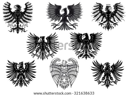 Heraldic royal medieval eagles for retro heraldry design isolated on white background - stock photo