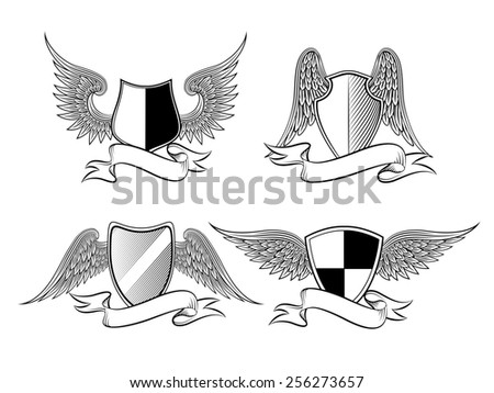 Heraldic shield with wings and ribbons for a logo, emblem, symbol or tattoo - stock photo