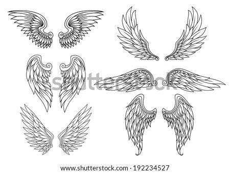 Heraldic wings set for tattoo or mascot design. Vector version also available in gallery - stock photo