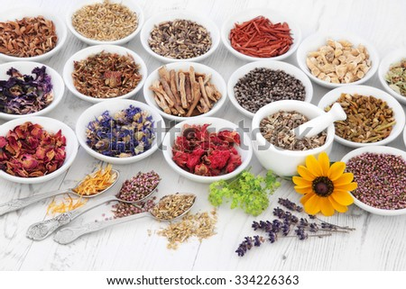 Herb and flower selection used in natural herbal medicine with mortar and pestle over distressed wooden background. Selective Focus. - stock photo