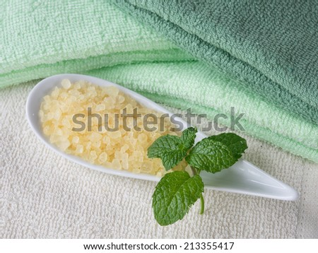 Herb bath soap with cotton towel - stock photo