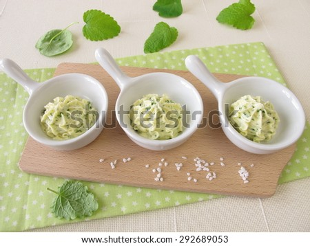 Herb butter decoration - stock photo