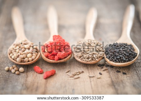 Herb ingredient for cooking on wooden spoon, shallow deep of field - stock photo
