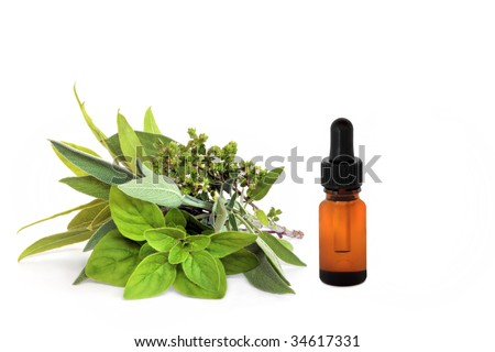 Herb leaf and flower selection of bay, oregano, sage and thyme with an essential oil dropper bottle, over white background. - stock photo